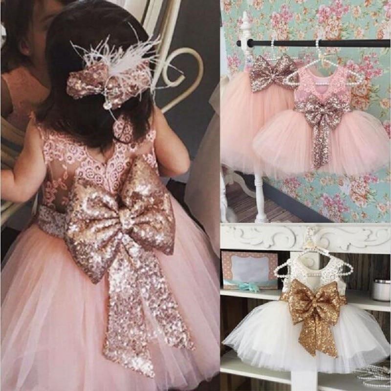 2019 Summer Children's Girls Dresses Kids Baby Paillette Big Bow Dress Children's Lace Dress Performance Dresses