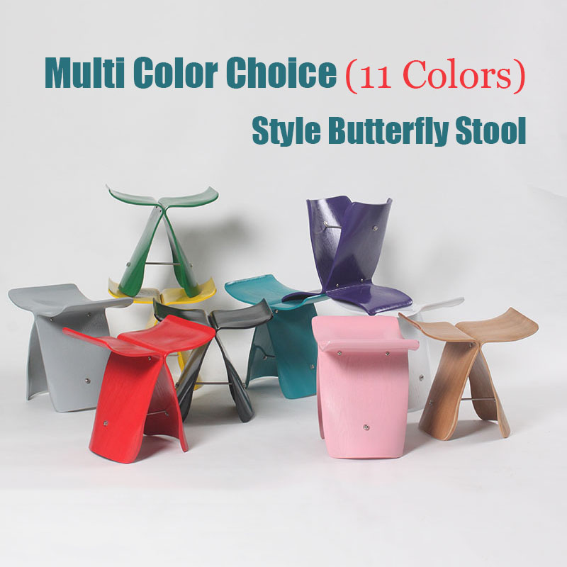 Nasida Northern Europe Wooden ottoman Shoes stool Sori Yanagi Style Butterfly Stool Originality household Multi Color Low stool-in Stools & Ottomans from Furniture    1