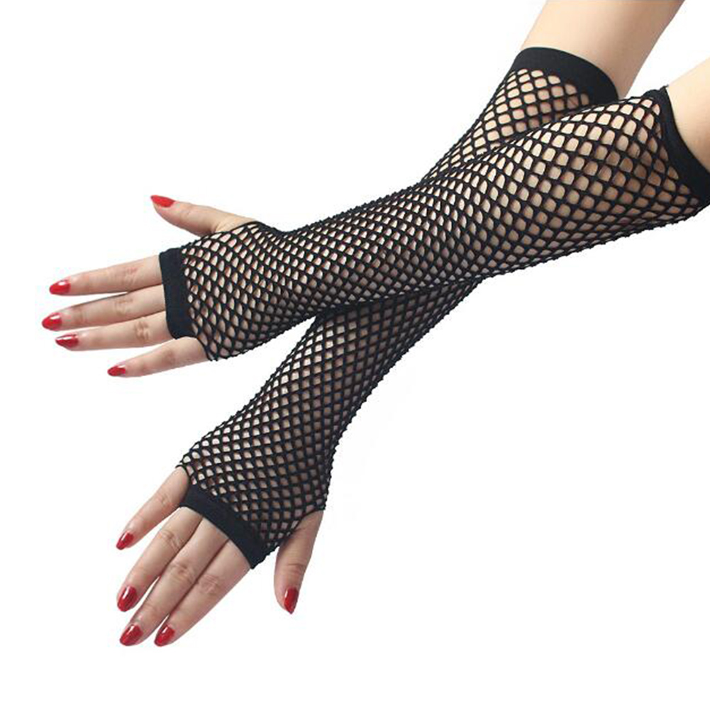 Women's Ladies Lace Mesh Fishnet Long Elbow Gloves Female Sexy Dance Costume Party Fingerless 26cm Long Mittens Guantes Mujer