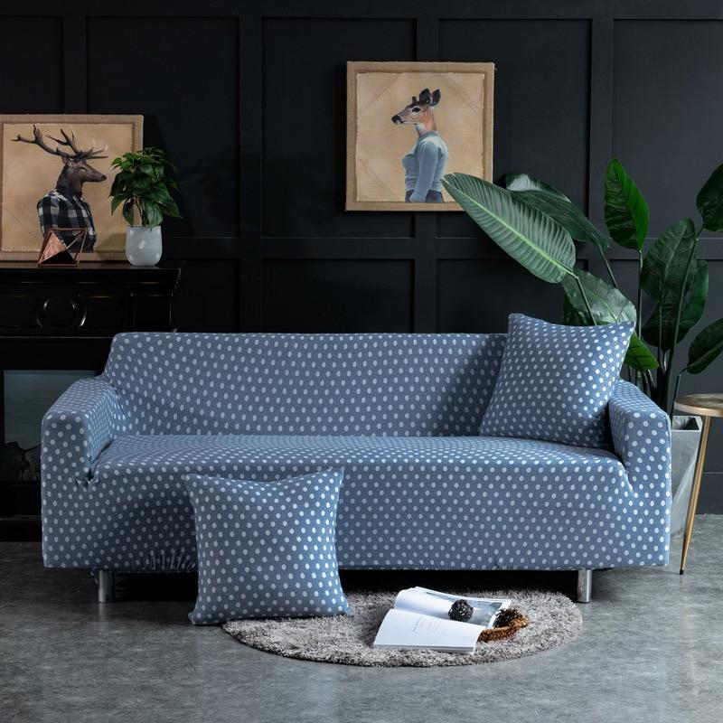Polka Dot Blue Sofa Cover Elastic For Living Room