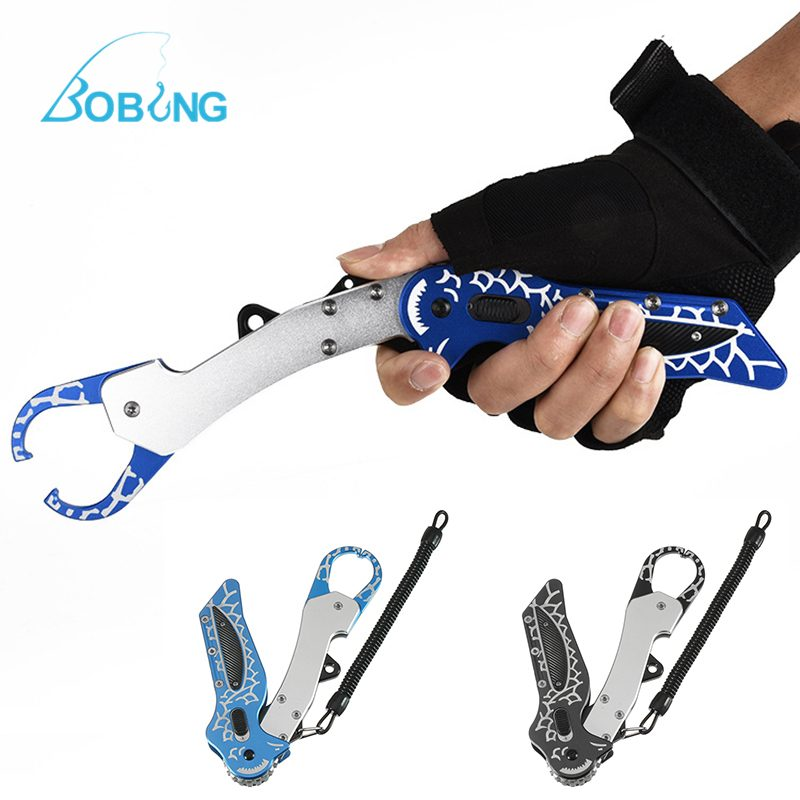 Bobing 18.5cm Foldable  Aluminum Fishing Gripper With Bag Retention Rope Outdoor Fishing Lip Grip Control Grabber Pesca Tool