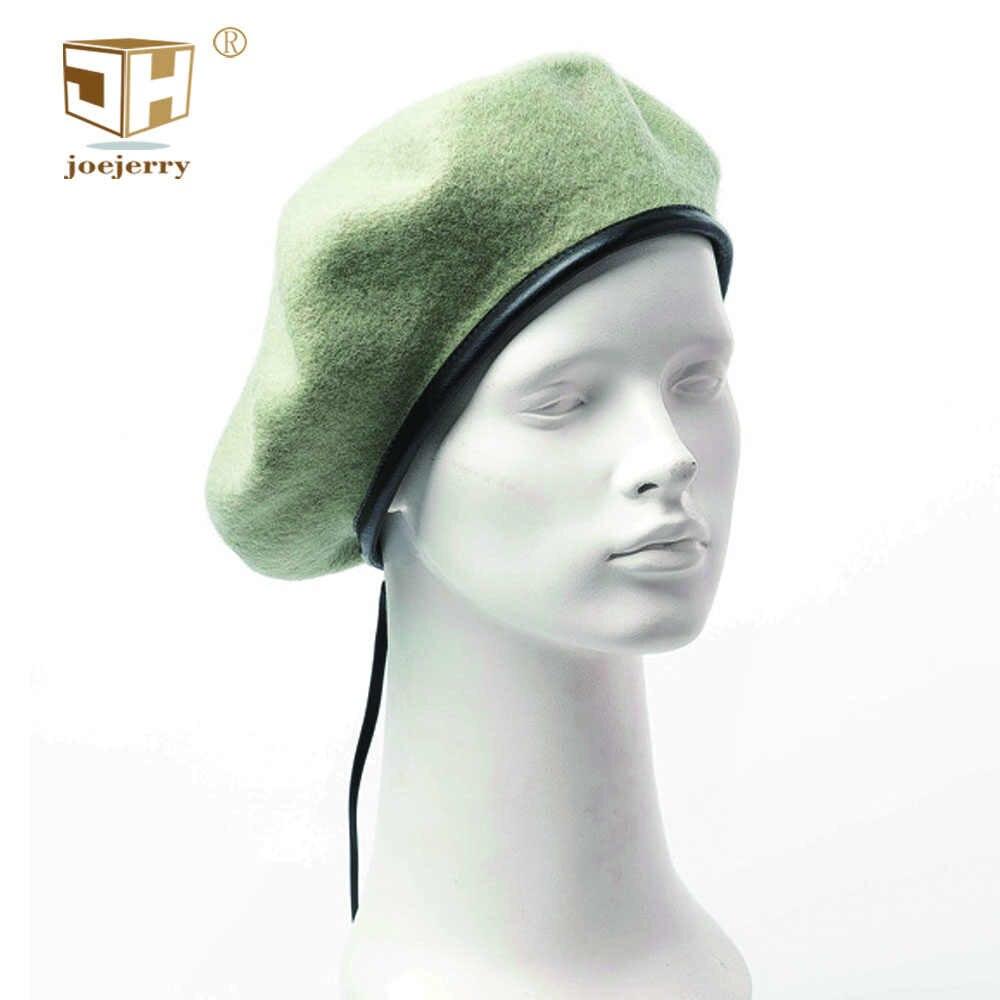 JOEJERRY плоская кепка шерстяной берет военный женский художник Берет зимний французский стиль шляпа черный кожаный берет детектив шляпа