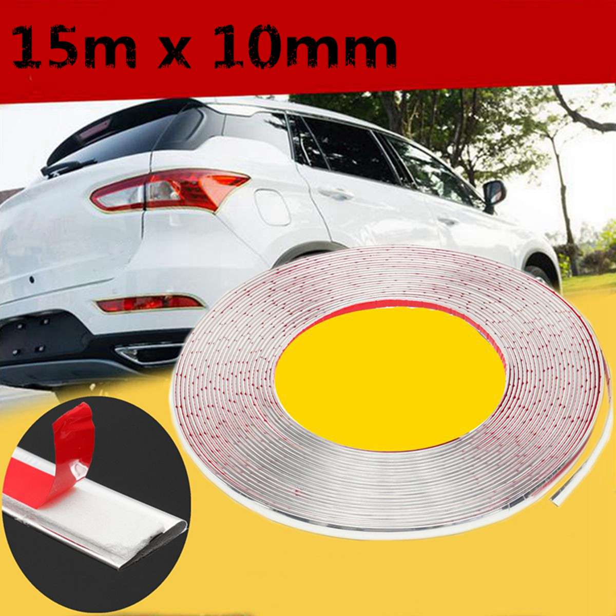 Fits For Most Car 10MM x 15M Car Chrome Moulding Trim Strip Self Adhesive