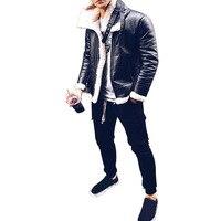 Модная мужская кожаная куртка Осень Зима Новая мужская плюс бархатная подкладка теплое пальто из искусственной кожи мужской однотонный ка...