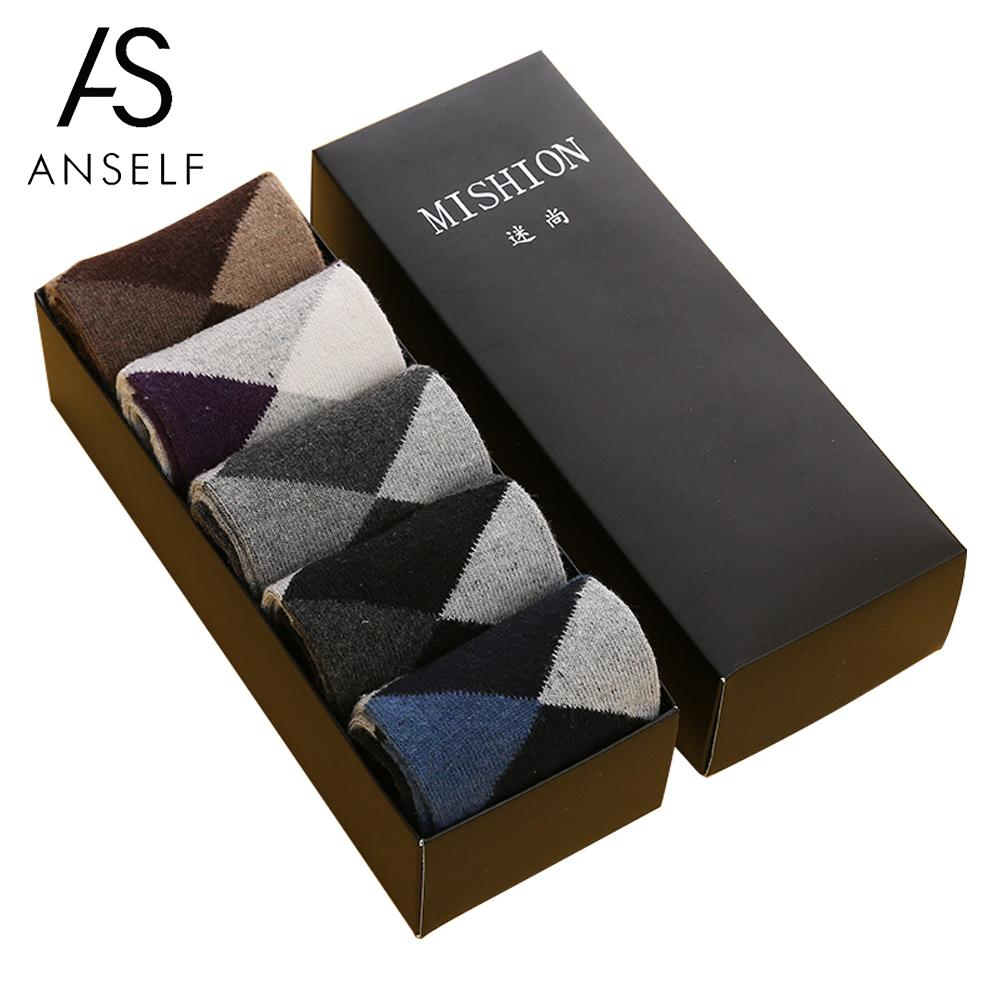5 Pairs of Boxed winter socks Autumn and Winter Men Socks Thick Middle Tube Wool