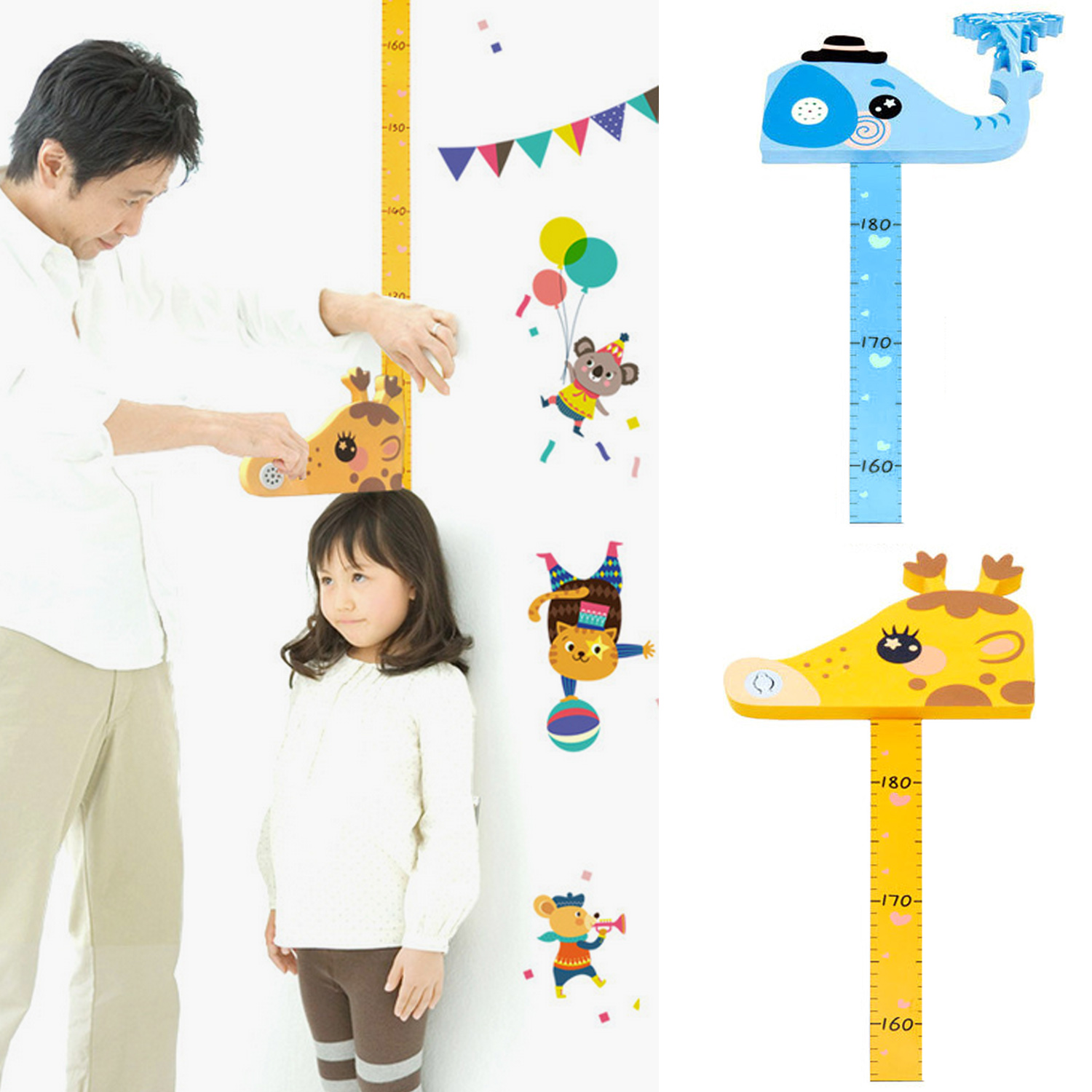 Fashion Cute Removable 3D Magnetic Height Ruler Growth Chart With Wall Sticker For Kids Children Bedroom Nursery Kindergarten