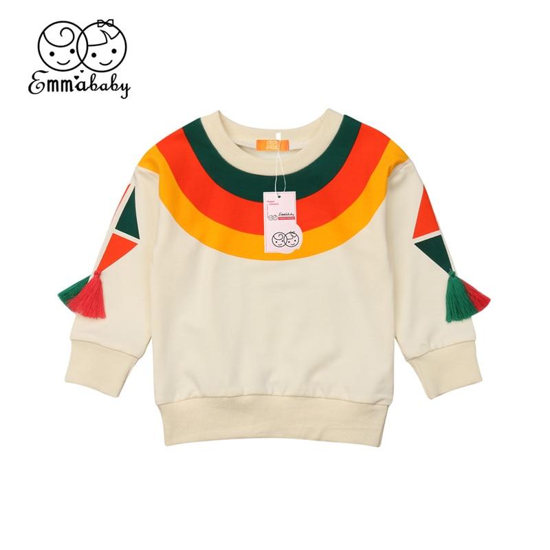 Kids Rainbow Color Printed Stripes Sweatshirt Hoodie Top Baby Girls Tassel Long Sleeve Shirt Hooded Outfits Clothes 1-6T