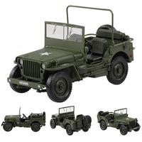 1:18 Jeep Military Tactics Alloy Diecast Alloy Car Model Opening Hood Panels To Reveal The Engine for Children Boy Toys Gift