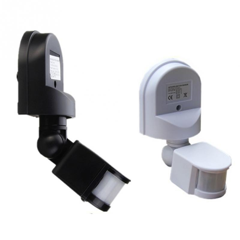110-240V Portable Sensor Switch Plastic Detector Outdoor 180 degree Detection Motion Sensor blk/white