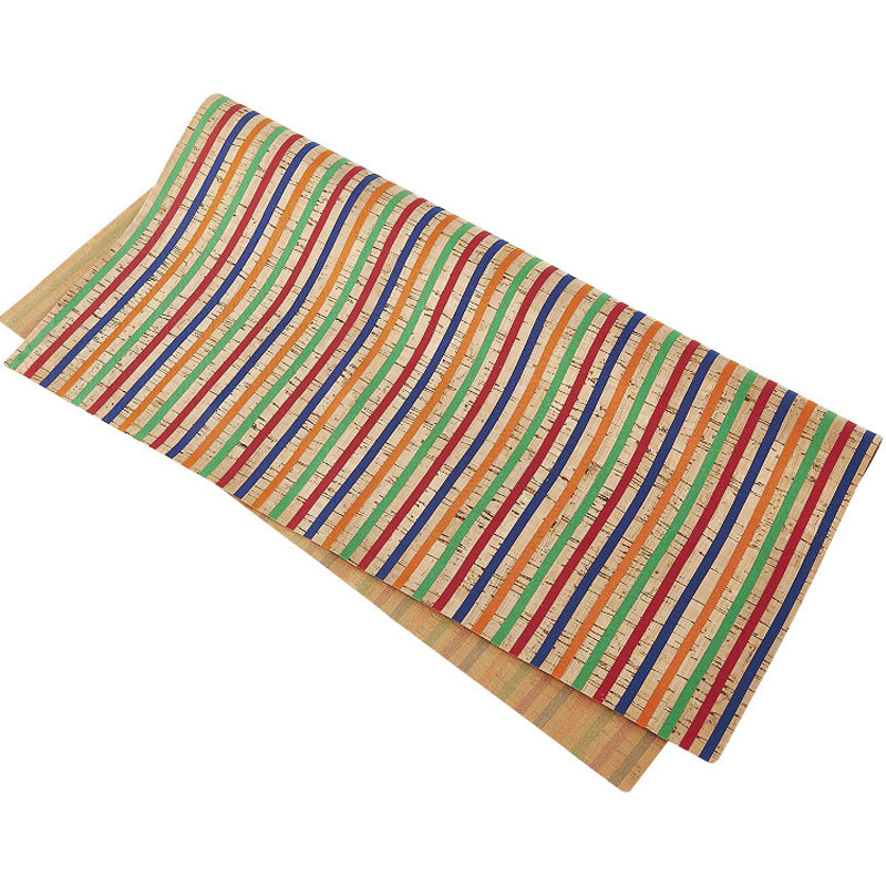 Lychee Life A4 Rainbow Striped Cork Fake Leather High Quality Synthetic Leather DIY Sewing Material For Handbag Garments