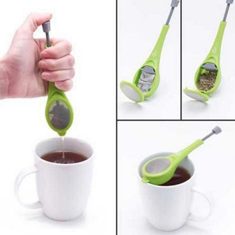 1pcs Tea Infuser Press Tea Bag Tea Strainer Built-in Plunger Tea Filter Reusable Plastic Kitchen Gadget Teapot Accessories