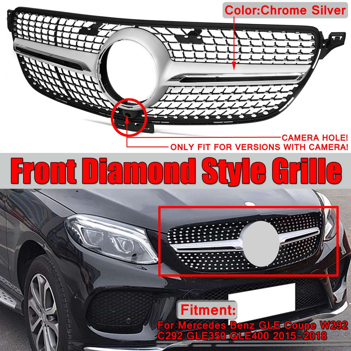 Car Front Grill Grille For Mercedes For Benz GLE For Coupe Sport W292 C292 GLE350 GLE400 2015 2018 Diamond Grill W292 And Camera-in Racing Grills from Automobiles & Motorcycles    1
