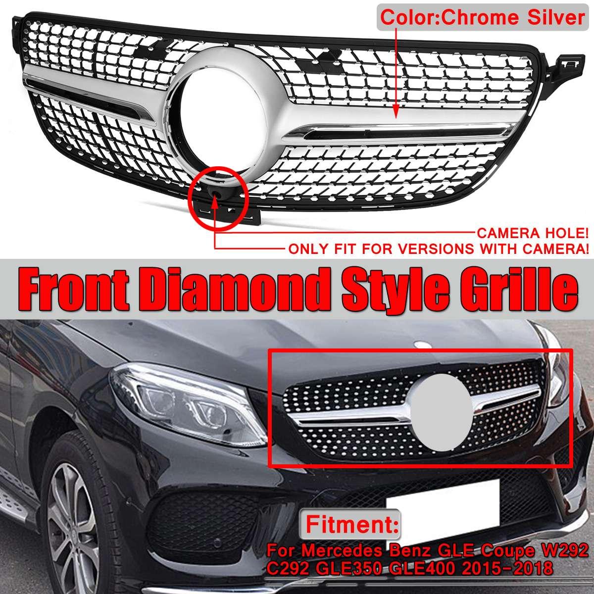 Grille de calandre avant de voiture pour Mercedes pour Benz GLE pour Coupe Sport W292 C292 GLE350 GLE400 2015-2018 Grille de diamant W292 et caméra