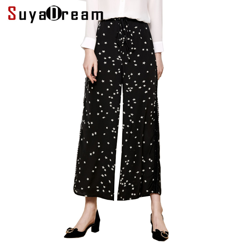 Women   Wide     Leg     Pants   100%Real Silk Crepe Printed Ankle-Length   Pants   For Women High Waisted Loose   Pants   2019 Spring New Trousers