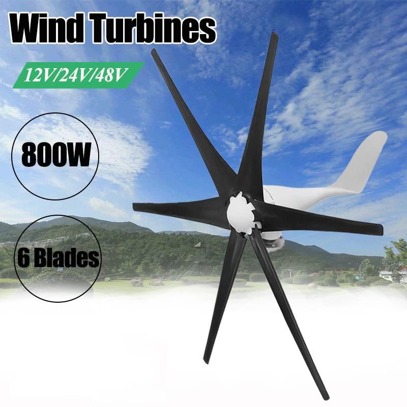 Noir 800 W 12/24/48 volts 6 lame de Fiber de Nylon éoliennes horizontales éoliennes générateur d'énergie éolienne Turbines Charge