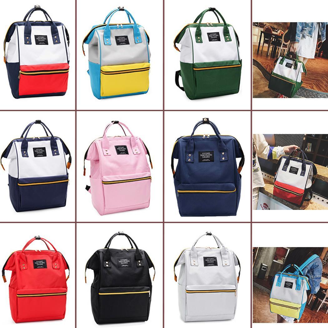 Patchwork Contrast Color Large Capacity Canvas School Bag School, Hiking, Cycling, Etc Backpack Zip Fashion