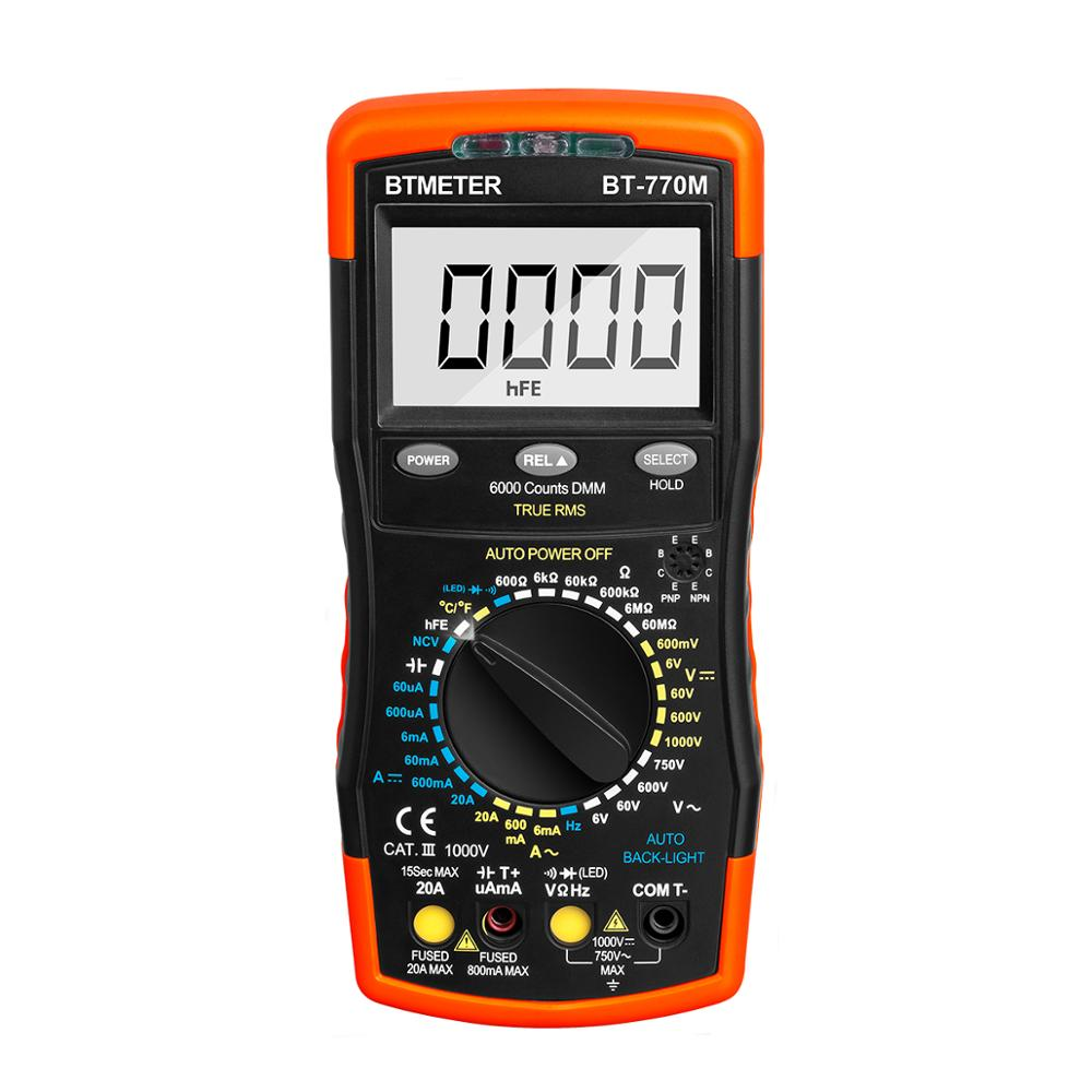 Digital Multimeter 6000 Counts Auto Ranging AC/DC Voltage Meter Diode Test NCV True RMS Back Light BTMETER BT-770M