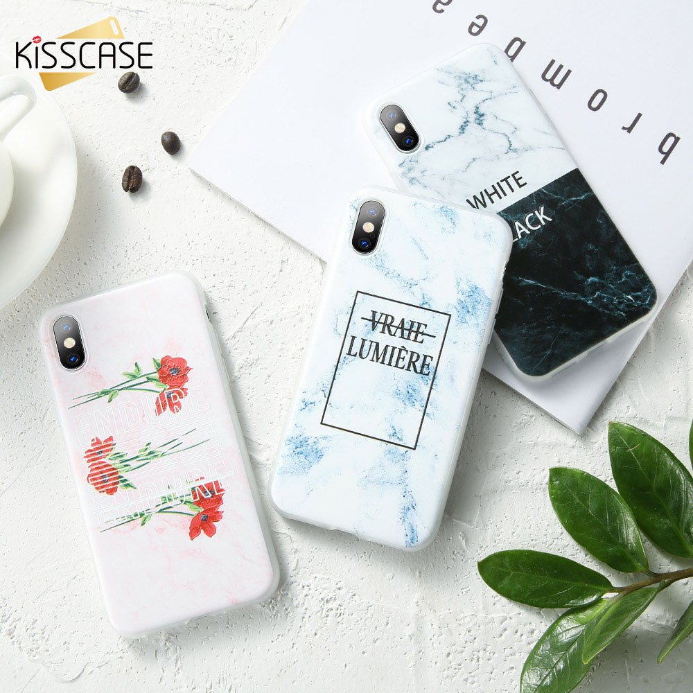 KISSCASE Marble Floral Pattern Phone Case For iPhone MAX XR XS X 8 7 6 6s Plus 5 5s SE Fashion Fundas Coque Cool Covers