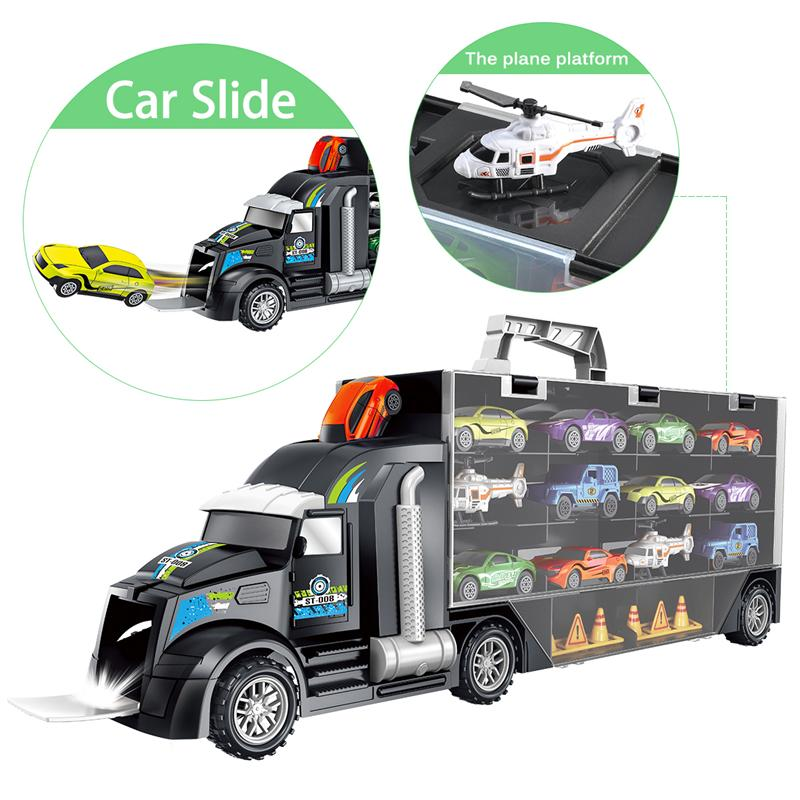 Image 3 - 16Pcs/Set Transport Car Carrier Truck Boys Toy (include Alloy 10 cars &2 Helicopters &2 Roadblocks & City Map ) For Kid Children-in Diecasts & Toy Vehicles from Toys & Hobbies