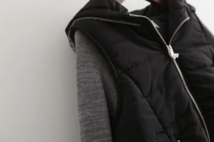 Hiver Patchwork Longues Automne Chandail Manches Manteau Outwear Capuchon Pardessus Femelle Veste Gris Occasionnel Tricoté À Femmes 7pxFdrwIqp