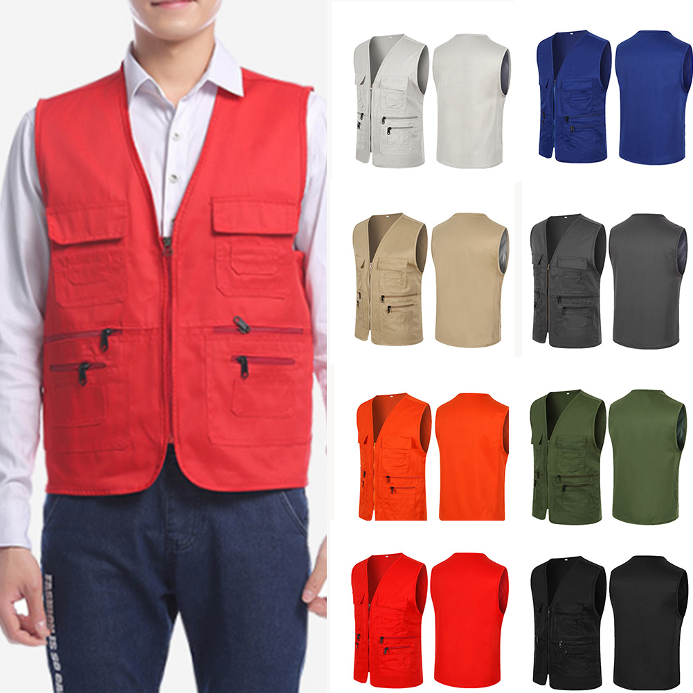 Brand Mens Vests Multi Pockets Travelers Fishing Photography Sleeveless Coat Male Worker Outwear Tank Top Jackets
