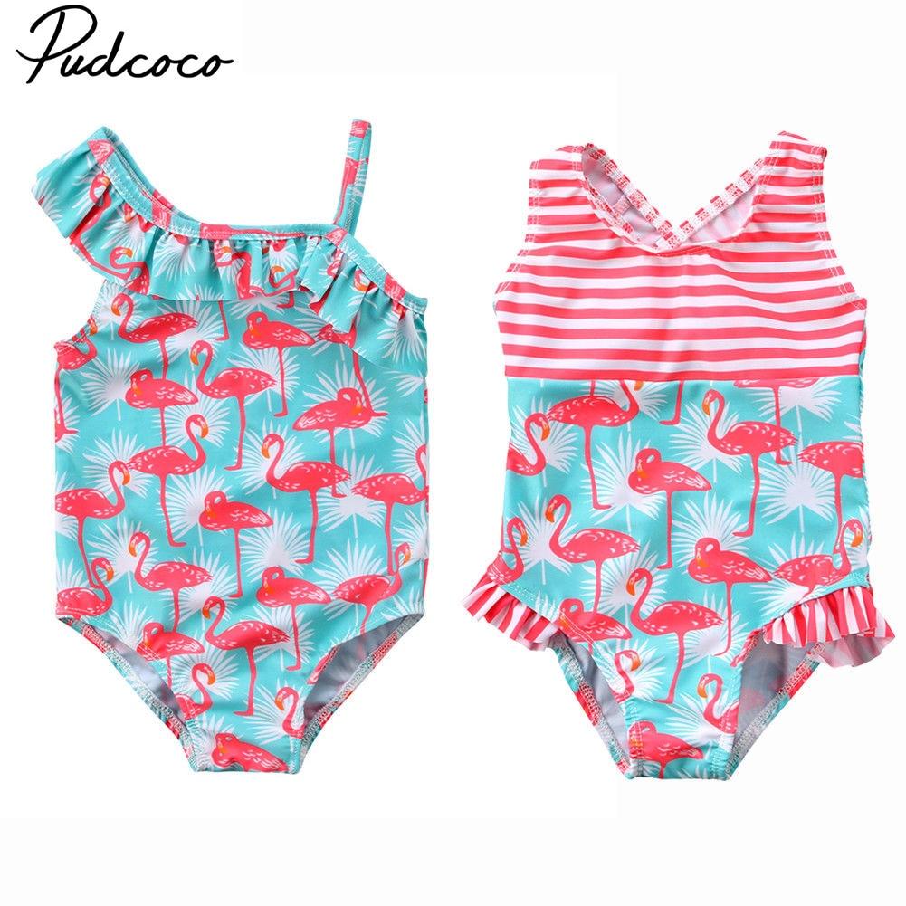 Flamingos Pattern Toddler Girl Swimwear Infant Baby Bathing Suit Kids Swimsuit O
