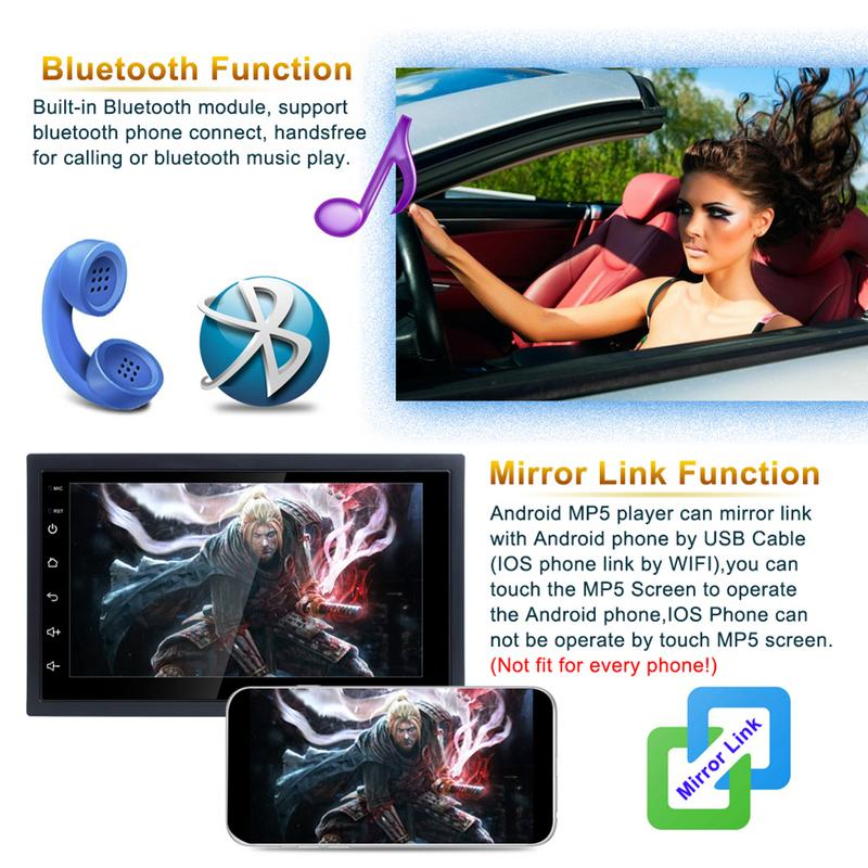 7 Inch 2DIN Universal Android 8.1 Car Multimedia WIFI Player GPS Navigator HD Reversing Audio And Video Mobile Phone Interconnec7 Inch 2DIN Universal Android 8.1 Car Multimedia WIFI Player GPS Navigator HD Reversing Audio And Video Mobile Phone Interconnec