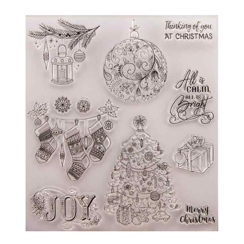 Christmas Ornaments DIY Silicone Clear Stamps Seal Scrapbook Photo Album Card Craft Decorative Kids Toys Gift Clear Stamps