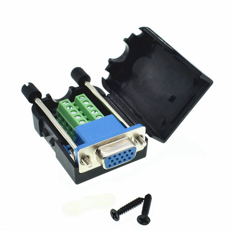 DB15 D-SUB VGA female 15 Pin Terminal Breakout Plastic cover screw 3+6 BLACK