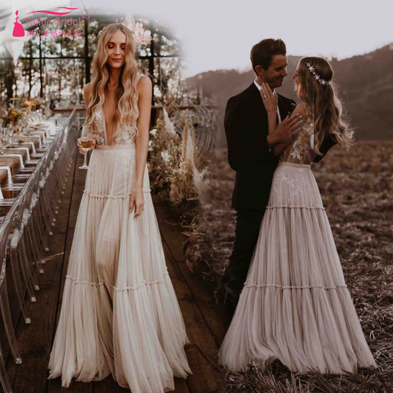 890435780a7 Nude Champagne Wedding Dresses 2019 Deep V-Neck Whimsical Boho Dreamy Bridal  Gowns Sexy Beach