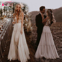 Nude Champagne Wedding Dresses 2019 Deep V Neck Whimsical Boho Dreamy Bridal Gowns Sexy Beach Vestido De Noiva ZW111
