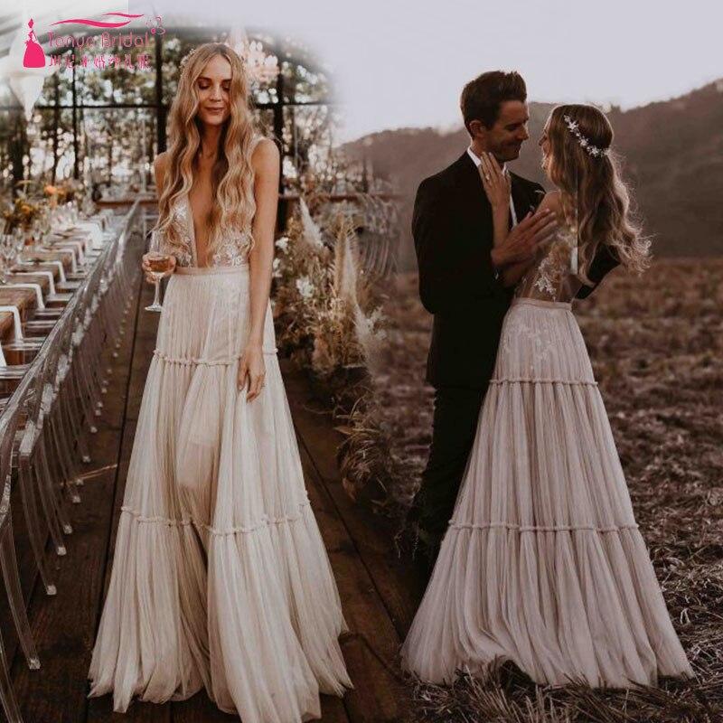 Nudez Champagne Vestidos de Casamento 2019 V Profundo Decote Lunático ZW111 Boho Dreamy Vestidos de Noiva Sexy Praia Vestido De Noiva