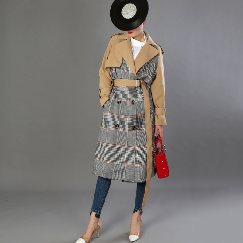 LANMREM 2019 Mode Automne Femmes Plaid Patchwork Ceinture Coupe-Vent Réglable Taille Lâche Femelle À Manches Longues Pardessus TA589