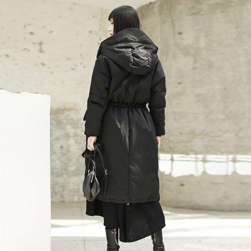 Up D'hiver Nouveau Bas Haute De Manches À Vestes Coréenne Taille Lâche Femme Longues Capuchon Femmes Veste Black Noir Mode Sispell Le Vers Dentelle Manteau 2018 Z5qOYYg