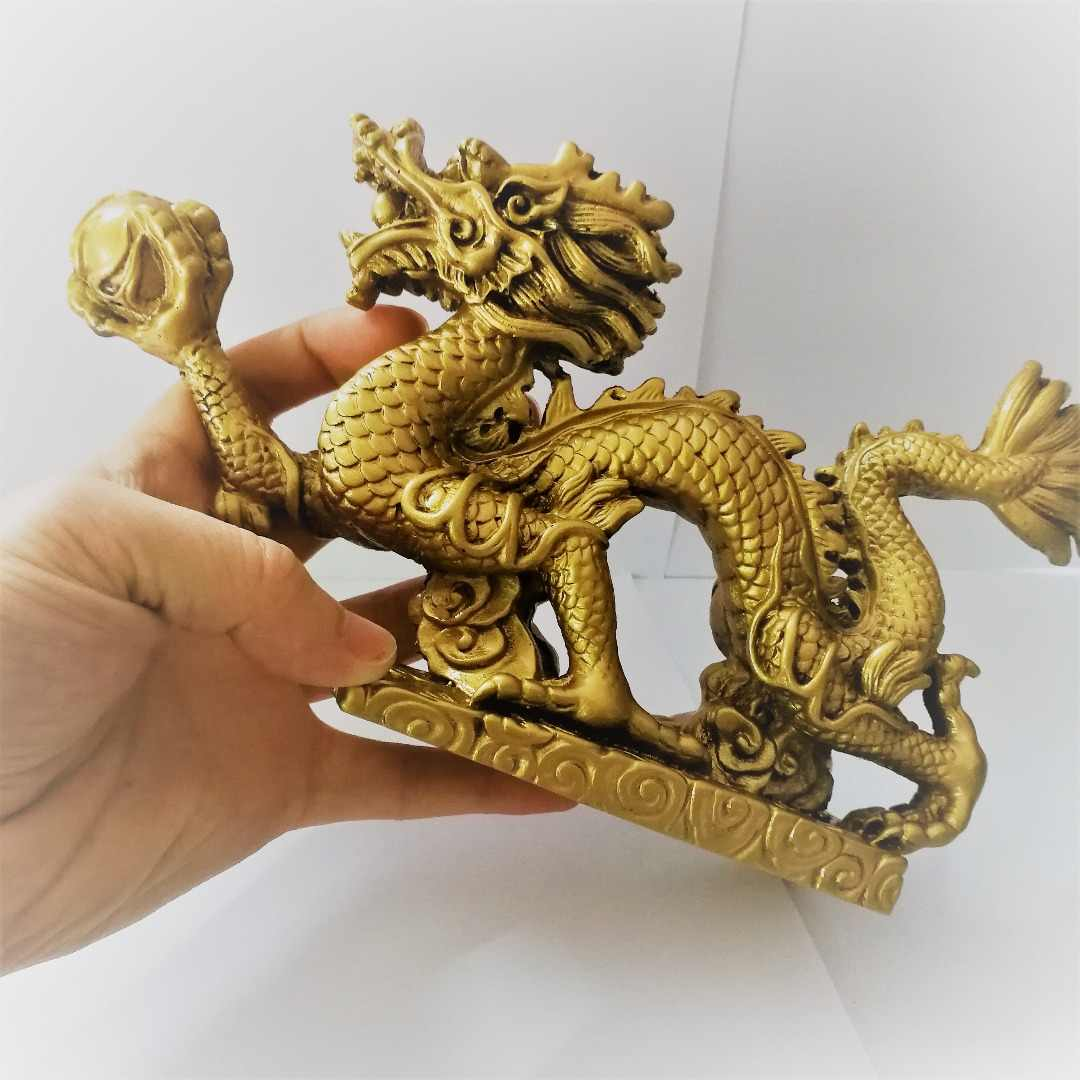 Copper Dragon Figurine Holding a Ball Chinese Geomancy Gold Dragon Figurine Statue Ornaments for Luck and Success