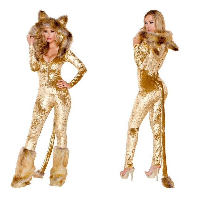 Halloween Animal Cosplay Party Costume Deep V Neck Faux Fur Jumpsuit Sexy Club Sexy Women Long Sleeve Catwoman Jumpsuit