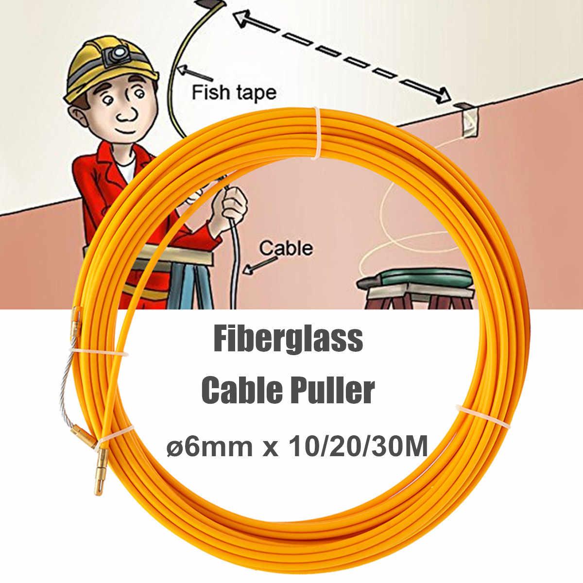 Dispositif de guidage en fiber de verre, outil de lecture de câble électrique, 30M 6mm, conduit de serpent, carton de poisson, outil de lecture de fil