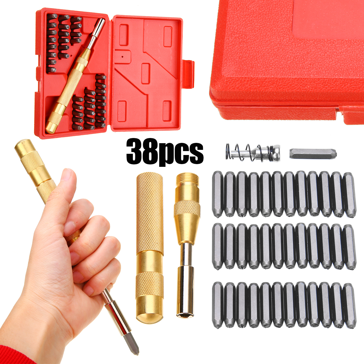 "37 pc 1//8/"" Steel Metal Punch Letter /& Number Stamp Stamping Kit Set With Case"