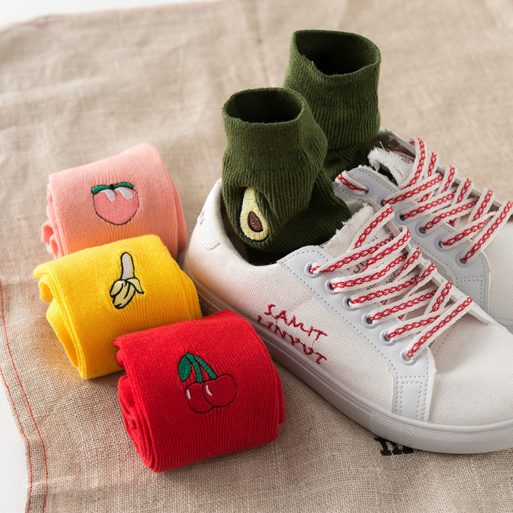 Women Harajuku Cotton Short Avocado   Socks   Solid Pink Red korean japanese Cute kawaii   Socks   Hipster Winter   Socks   4 Drop Shipping
