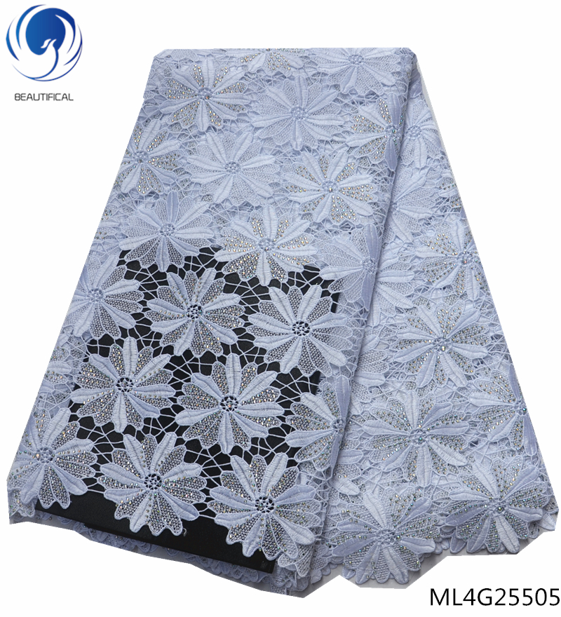 BEAUTIFICAL african lace fabric white guipure lace fabric 2019 flowers patterns rhinestones lace fabric high quality