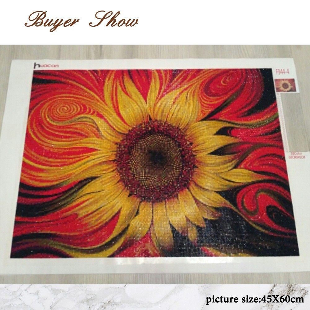 Huacan Diamond Painting Cross Stitch quot Flower quot Full Square Crystal Diamond Embroidery Mosaic Sunflower Needlework Craft Home Decor in Diamond Painting Cross Stitch from Home amp Garden