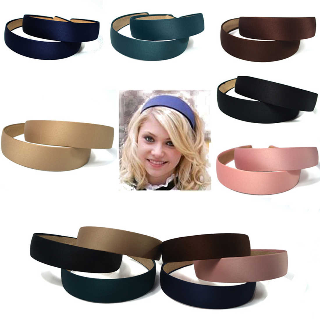 1Pcs Solid Color Fashion Women Canvas Wide Headband Hair Band Headwear Hairbands Boutique Hair Hoops