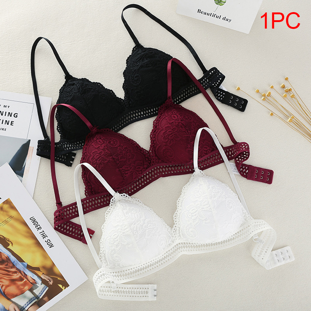 Mince Style français Bralette dentelle sans fil Triangle tasse femmes Lingerie douce soutien-gorge sous-vêtements sans couture V profond filles