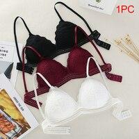 Thin French Style Bralette Lace Wireless Triangle Cup Women Lingerie Soft Bra Seamless Underwear Deep V Girls Bras