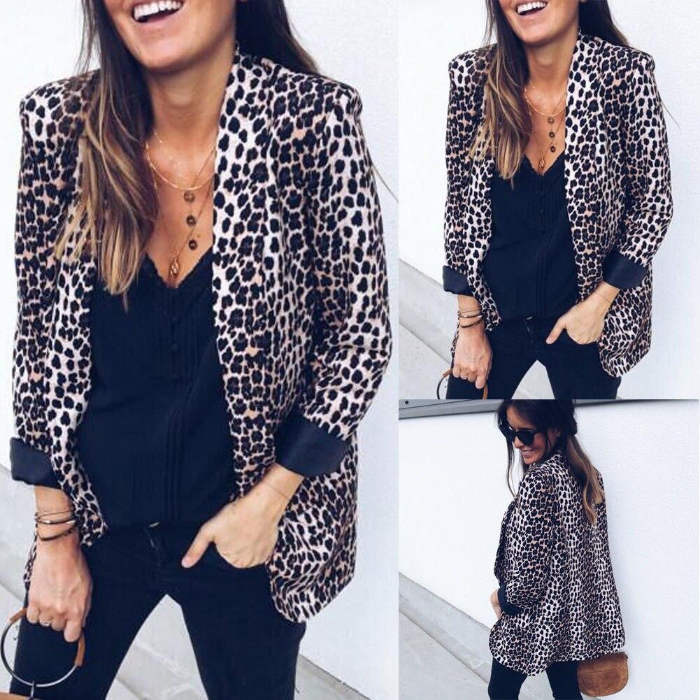 Brand New Women Slim OL Suit Casual Blazer Leopard Jacket Coat Tops Outwear Long Sleeve Coats Leopard Print Blazers Womens jeans con blazer mujer