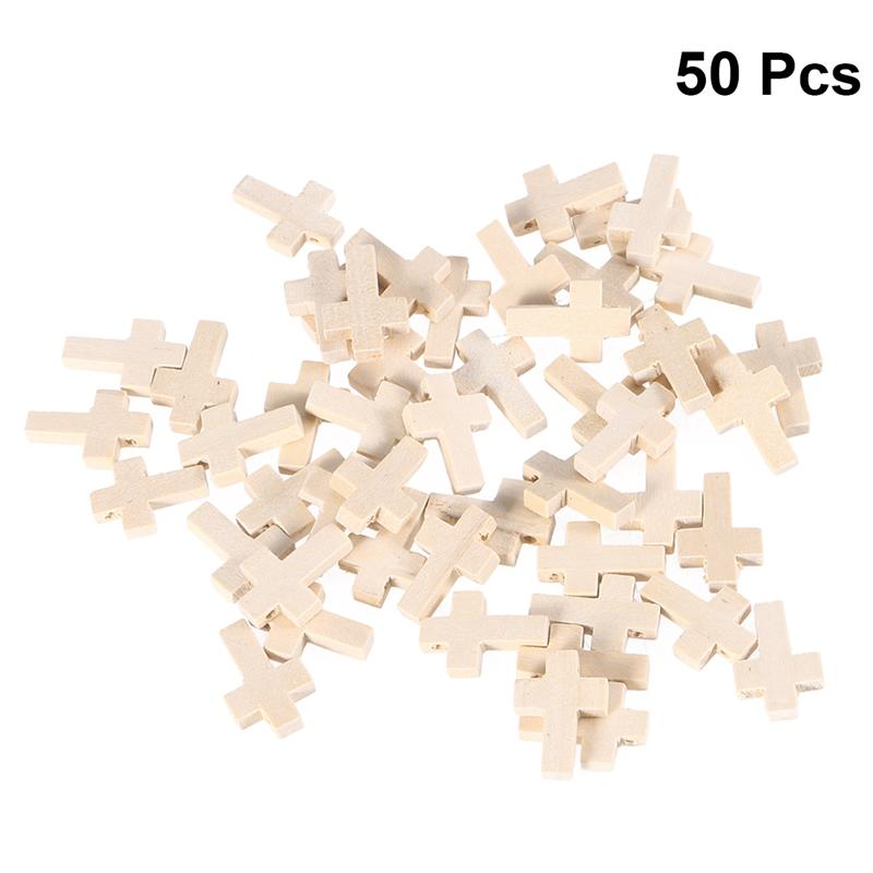 50PC Wooden Unfinished Cross Pendants Beads Dyed Natural Polished Embellishments DIY Craft Decor For Art Wedding DIY Decoration