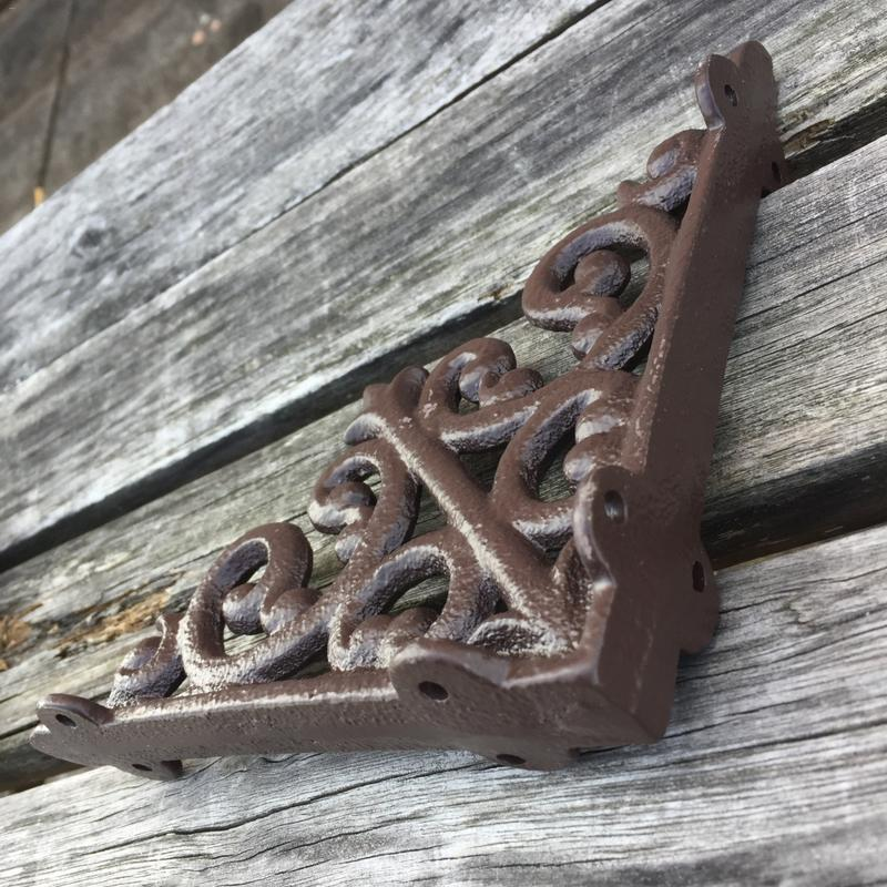 Antique Style Cast Iron Brackets Garden Braces Rustic Shelf Bracket Brown High Quality Nature Elegant Appearance Quick Delivery in Fencing Trellis Gates from Home Garden