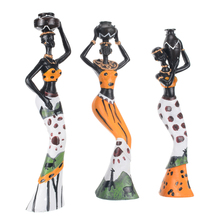 3pcs Retro Vase African Woman Statue Exotic Resin Culture Figurines Set for Home Hotel Living Room Decoration Craft Ornaments