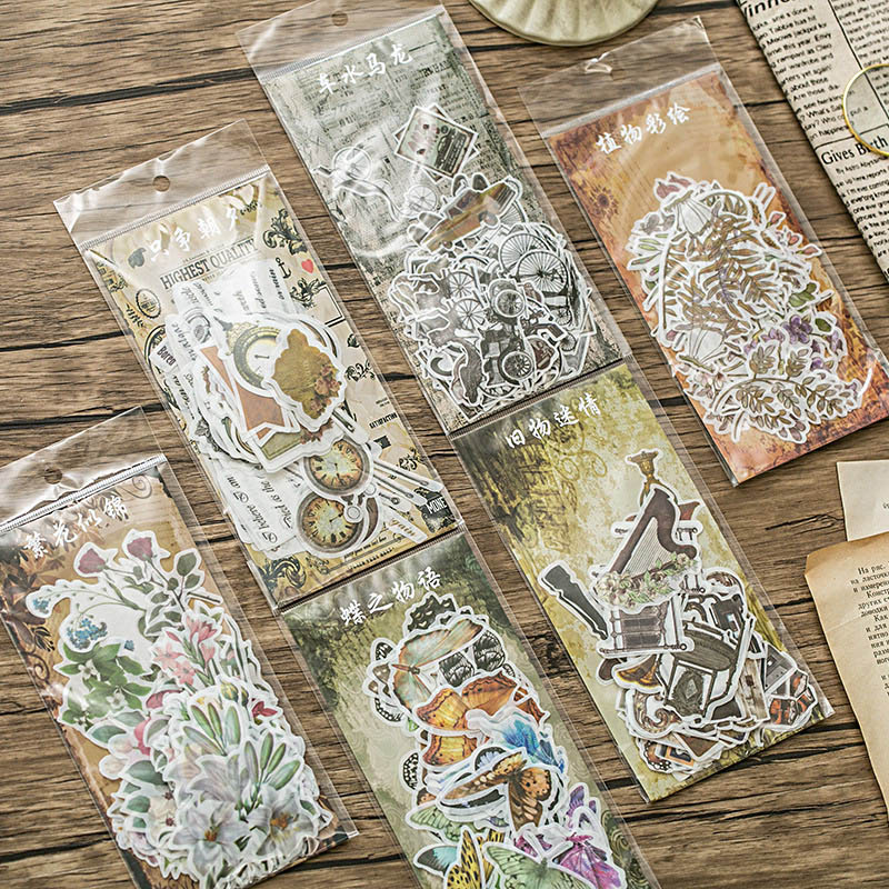 60pcs Travel Stickers Vintage Retro Green Plants Flowers Washi Paper Stationery Stickers Decorations Scrapbooking Diary Albums