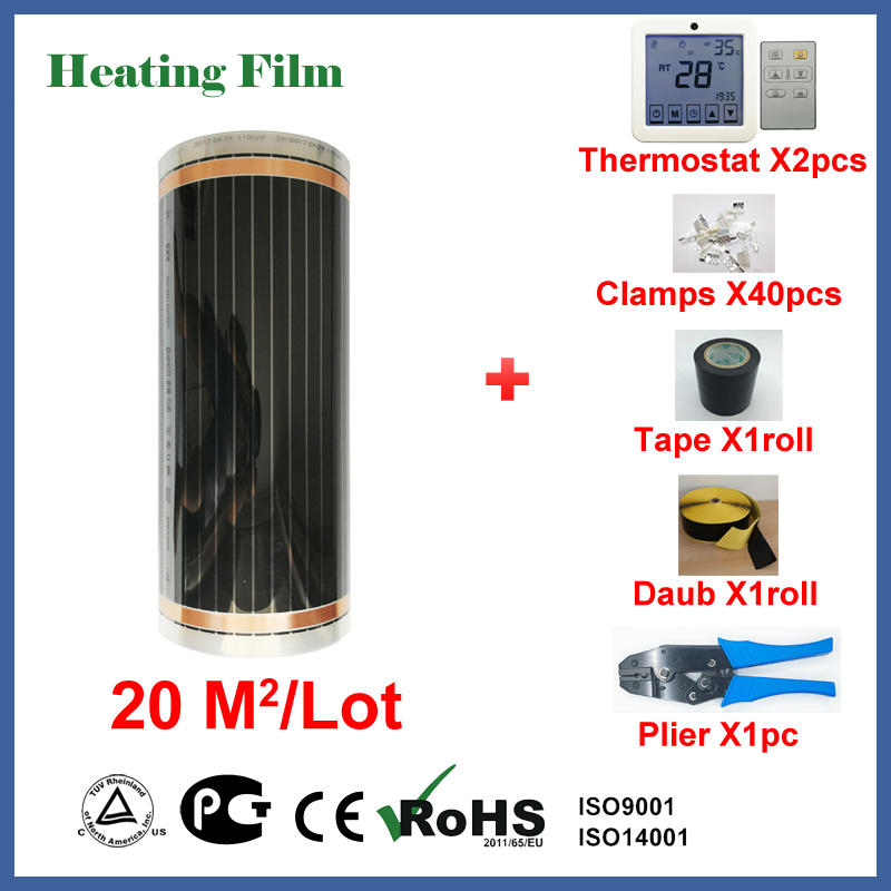 Sob o piso de aquecimento filme 20 metros quadrados, 220 W/Praça infravermelho aquecedor de ambiente com preço de atacado